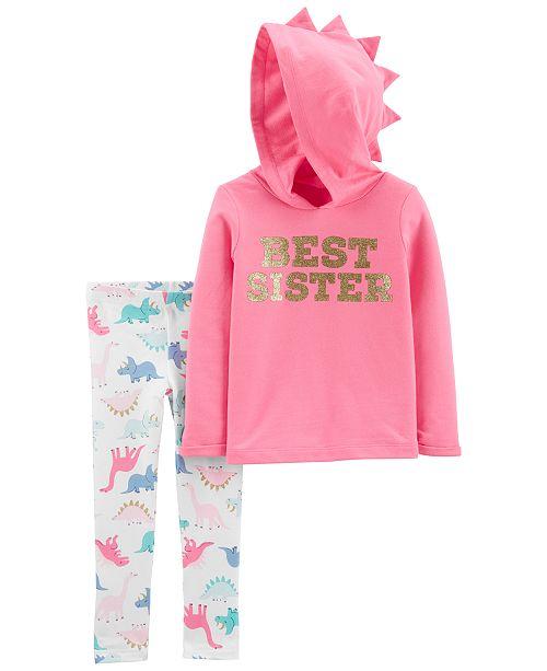 Carter's Baby Girls 2-Pc. Best Sister Hoodie & Dinosaur-Print Leggings Set