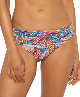 Printed Ruched Hipster Bikini Bottoms