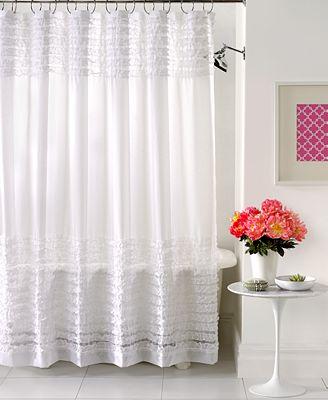 creative bath accessories, sheer ruffles shower curtain - shower