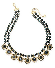 "Gold-Tone Crystal & Imitation Pearl Burst Double-Row Statement Necklace, 17"" + 2"" extender, Created For Macy's"