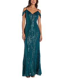 Sequin Cold-Shoulder Gown