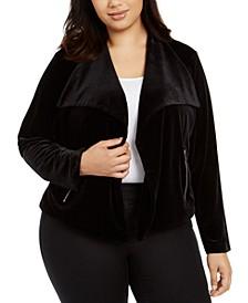 Plus Size Open-Front Zippered-Pocket Jacket