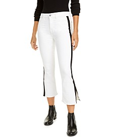 Side-Stripe Cropped Bootcut Jeans
