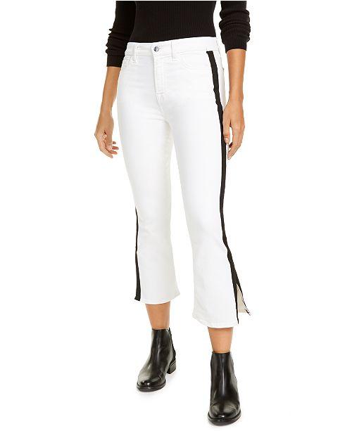Jen7 by 7 For All Mankind Side-Stripe Cropped Bootcut Jeans