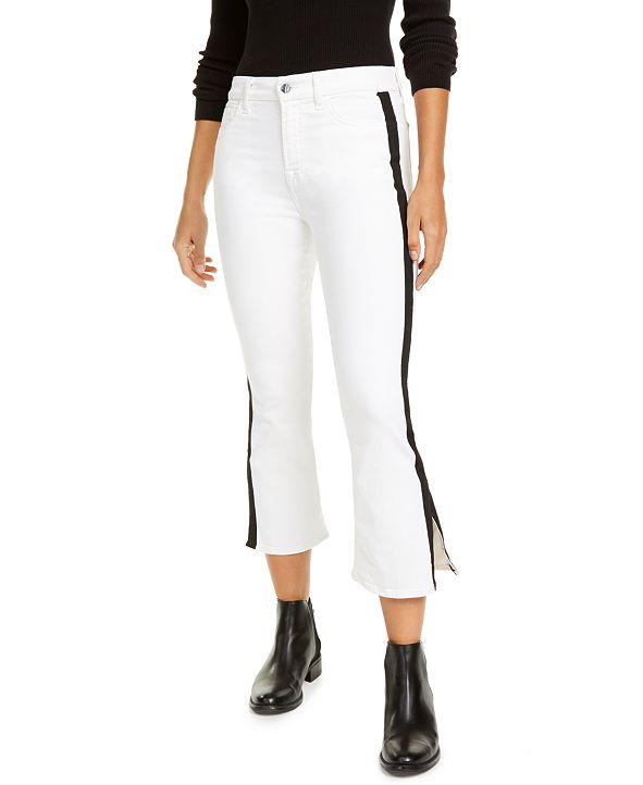 Jen7 by 7 For All Mankind Side-Stripe Cropped Bootcut Jeans
