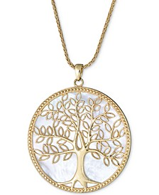 "Mother-of-Pearl Family Tree Pendant Necklace in 14k Gold-Plated Sterling Silver, 18"" + 2"" extender"