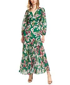 Pleated Floral-Print Maxi Wrap Dress