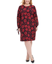 Plus Size Printed Chiffon-Sleeve Shift Dress