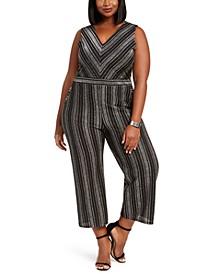 Trendy Plus Size Glitter-Stripe Jumpsuit