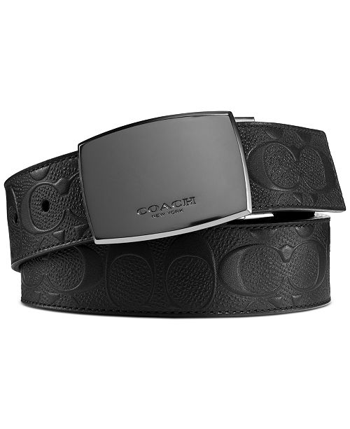 COACH Men's Reversible Plaque-Buckle Leather Belt