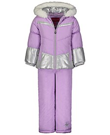 Toddler & Little Girls 2-Pc. Colorblocked Foil Jacket & Bib Snow Suit