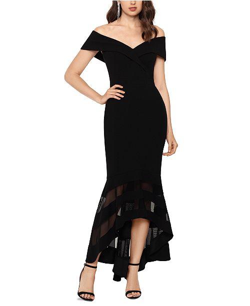 XSCAPE Illusion-Hem Off-The-Shoulder Gown
