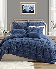 Charming Ruched Rosette Duvet Cover Set - Full/Queen