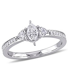 Marquise Cut Certified Diamond (5/8 ct. t.w.) 3-Stone Engagement Ring in 14k White Gold