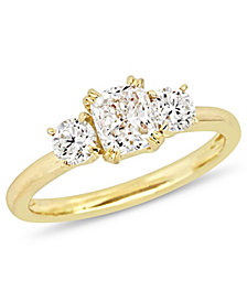 Certified Diamond (1 1/2 ct. t.w.) 3-Stone Engagement Ring in 14k Yellow Gold