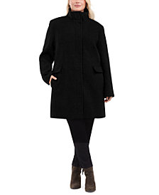 Calvin Klein Plus Size Stand-Collar Walker Coat, Created for Macy's