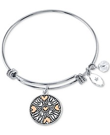 """Mothers and Daughter"" Charm Adjustable Bangle Bracelet in Stainless Steel & Rose Gold-Plate"
