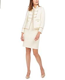 Tweed Jacket, Twist-Collar Sleeveless Top & Knee-Length Tweed Pencil Skirt