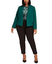 Plus Size Jacket, Sleeveless Printed Bow-Neck Top & Pull-On Pants