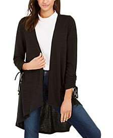 Petite Drawstring-Sleeve High-Low Sweater