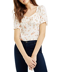 Juniors' Smocked Puff-Sleeve Top