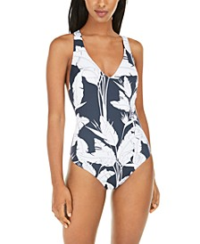 Juniors' Beach Classics Printed Cross-Back One-Piece Swimsuit