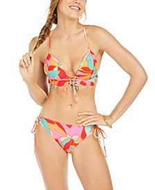 Juniors' Garden Party Printed Lace-Up Push-Up Midkini Bikini Top & Adjustable Hipster Bottoms, Created for Macy's