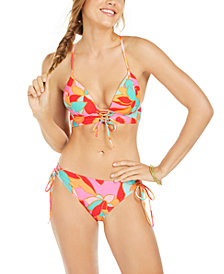 Hula Honey Juniors' Garden Party Printed Lace-Up Push-Up Midkini Bikini Top & Adjustable Hipster Bottoms, Created for Macy's