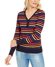 Metallic-Stripe Henley Top