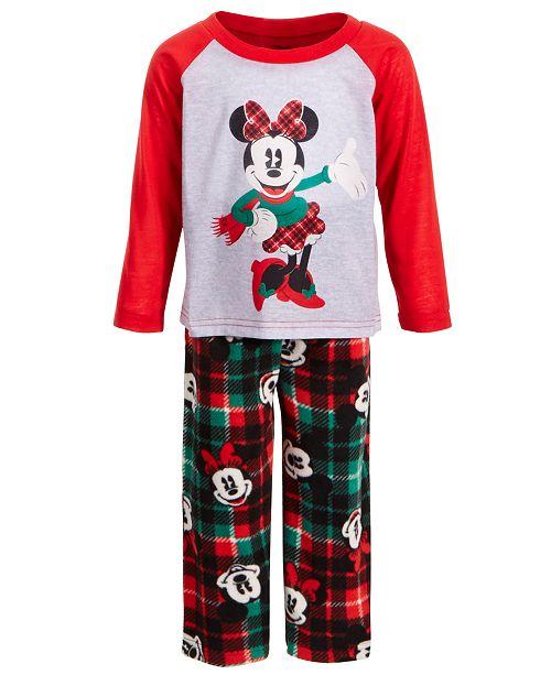 AME Toddler Girls 2-Pc. Minnie Mouse Plaid Pajama Set