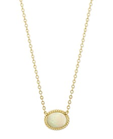 Opal (3/4 ct. t.w.) Twist Gallery Necklace in 14k Yellow Gold