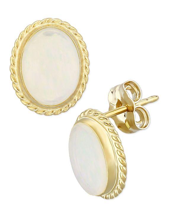 Macy's Opal (1-1/2 ct. t.w.) Twist Gallery Stud Earring in 14k Yellow Gold