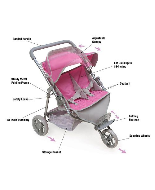 Badger Basket Trek 3 Wheel Folding Twin Doll Jogging