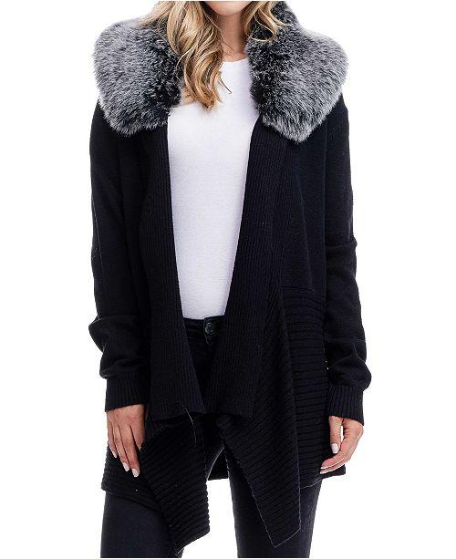 Fever Detachable Faux Fur Collar Sweater