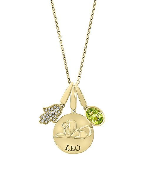 EFFY Collection EFFY® Zodiac Peridot (3/4 ct. t.w.) with Diamond Accent Pendant in 14k Yellow Gold