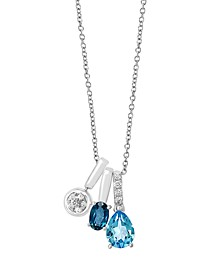 EFFY Blue Topaz (1 3/4 ct. t.w.) and Diamond (1/8 ct. t.w.) Pendant in 14k White Gold