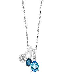 EFFY Blue Topaz (1 3/4 ct. t.w.) and Diamond (1/8 ct. t.w.) Pendant in 14k White Gold