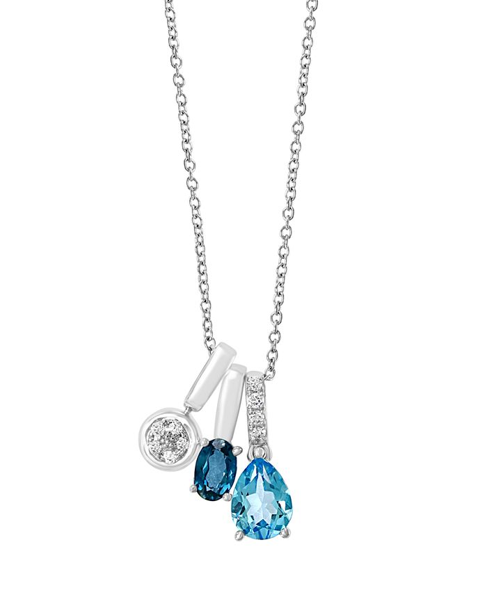 EFFY Collection - EFFY Blue Topaz (1 3/4 ct. t.w.) and Diamond (1/8 ct. t.w.) Pendant in 14k White Gold