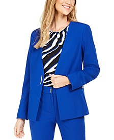 Petite Collarless Single-Snap Blazer