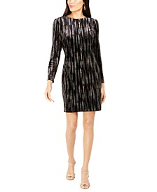 Long-Sleeve Metallic-Print Velvet Dress