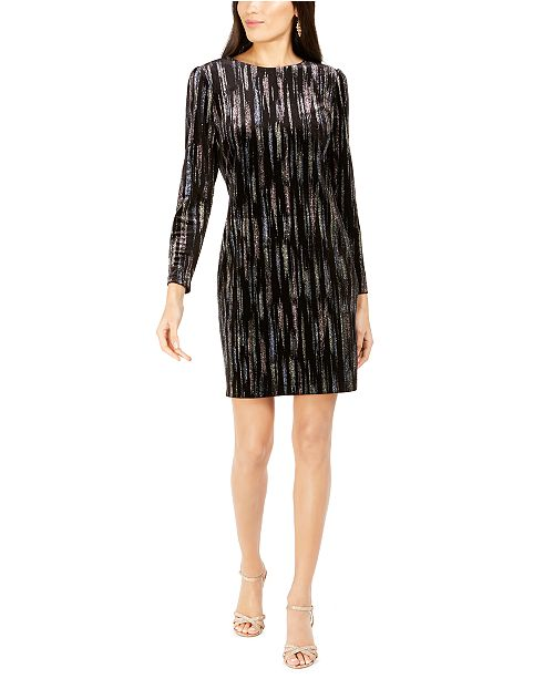 MSK Long-Sleeve Metallic-Print Velvet Dress