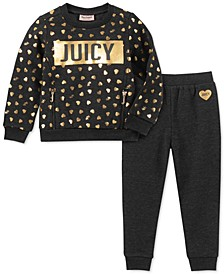 Little Girls 2-Pc. Heart Sweatshirt & Jogger Pants Set