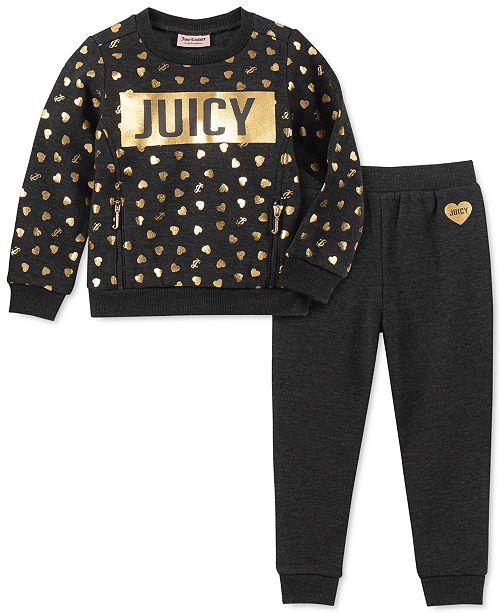 Juicy Couture Little Girls 2-Pc. Heart Sweatshirt & Jogger Pants Set