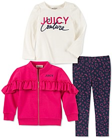 Little Girls 3-Pc. Ruffled Fleece Jacket, Logo Top & Printed Leggings Set