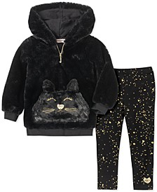 Little Girls 2-Pc. Faux-Fur Hoodie & Printed Leggings Set