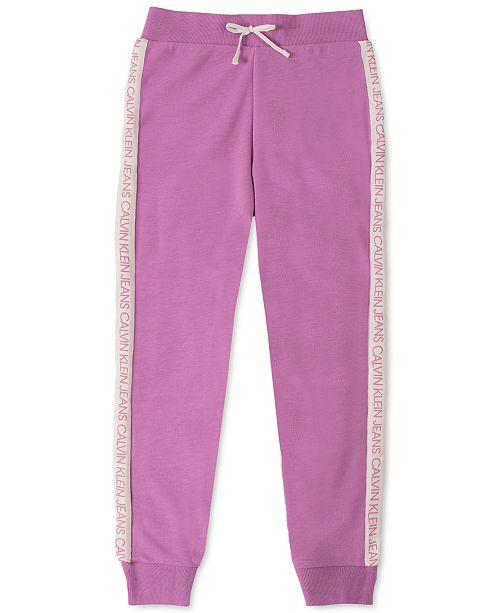 Calvin Klein Big Girls Logo-Tape Jogger Pants
