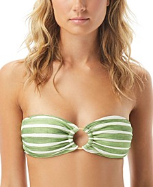 Hammock Stripe Printed Ring Bandeau Bikini Top