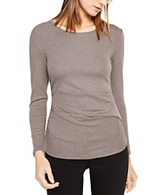INC Long-Sleeve Draped T-Shirt, Created for Macy's