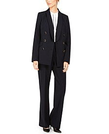 Double-Breasted Blazer, Piped-Trim Top & Button-Waist Pants