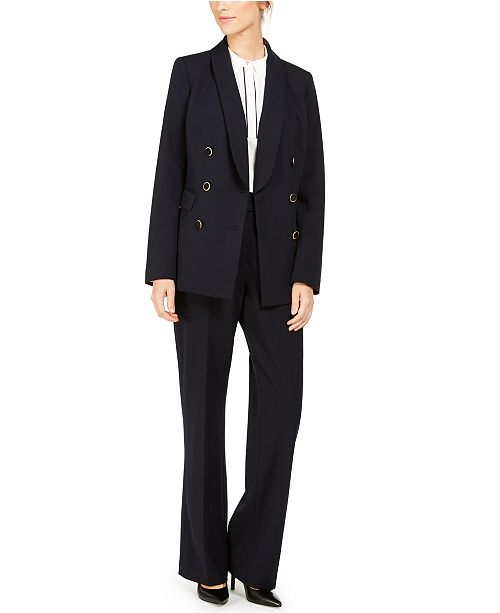 Calvin Klein Double-Breasted Blazer, Piped-Trim Top & Button-Waist Pants